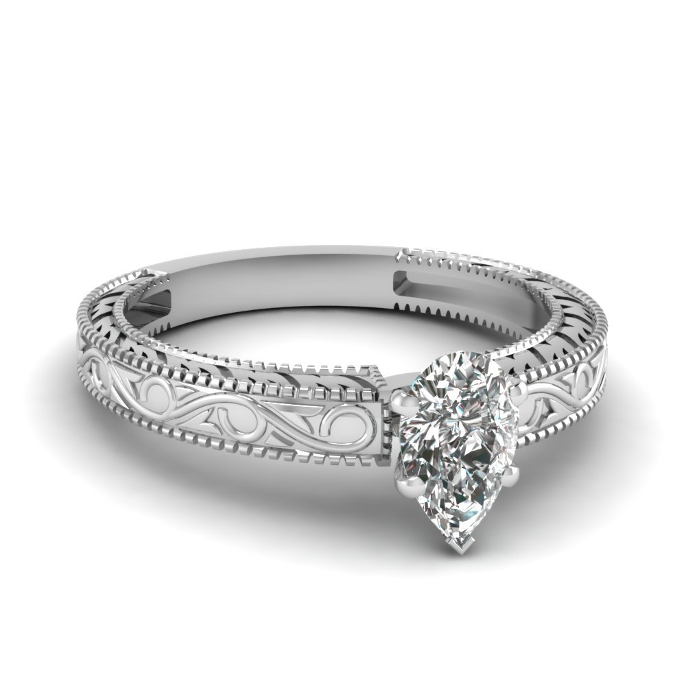 Vintage Engraved Pear Shaped Solitaire Engagement Ring In 950 Platinum