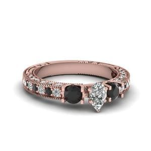 Vintage Style 3 Stone Pear Engagement Ring With Black Diamond In 14K Rose Gold