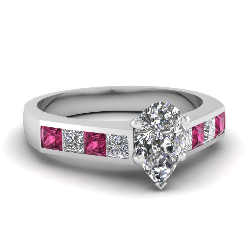 Pear Shaped Diamond Engagement Ring With Dark Pink Sapphire In 14K White Gold