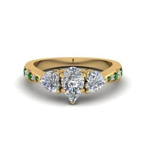 Emerald Tapered Diamond Ring