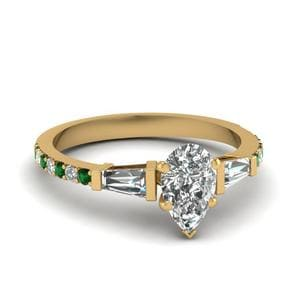 Pear Diamond Ring With Emerald
