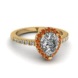 Orange Sapphire Ring With Halo