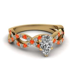 Pear Shaped Orange Topaz Ring