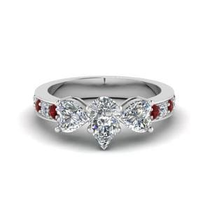 White Gold 3 Stone Ruby Ring