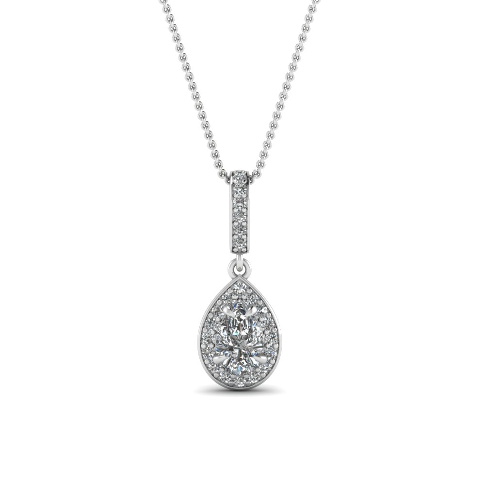 Pear Halo Diamond Drop Pendant In 14K White Gold