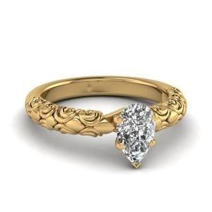 Pear Shaped Diamond Filigree Accent Solitaire Engagement Ring In 18K Yellow Gold