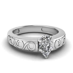 Pear Shaped Filigree Solitaire Ring In 950 Platinum
