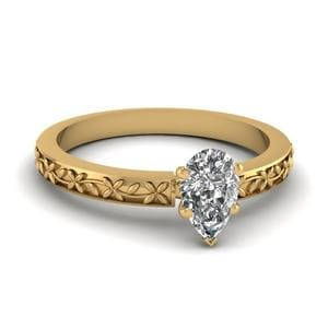 Floral Engraved Pear Diamond Solitaire Ring In 18K Yellow Gold