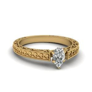Milgrain Solitaire Pear Shaped Diamond Ring