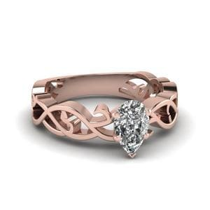Pear Shaped Diamond Intricate Grid Solitaire Engagement Ring In 14K Rose Gold