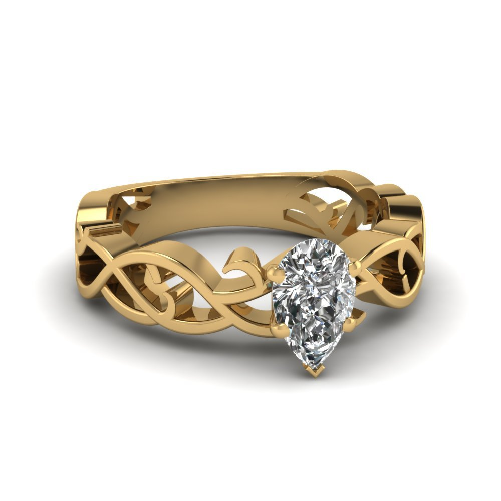 Filigree Pear Engagement Ring