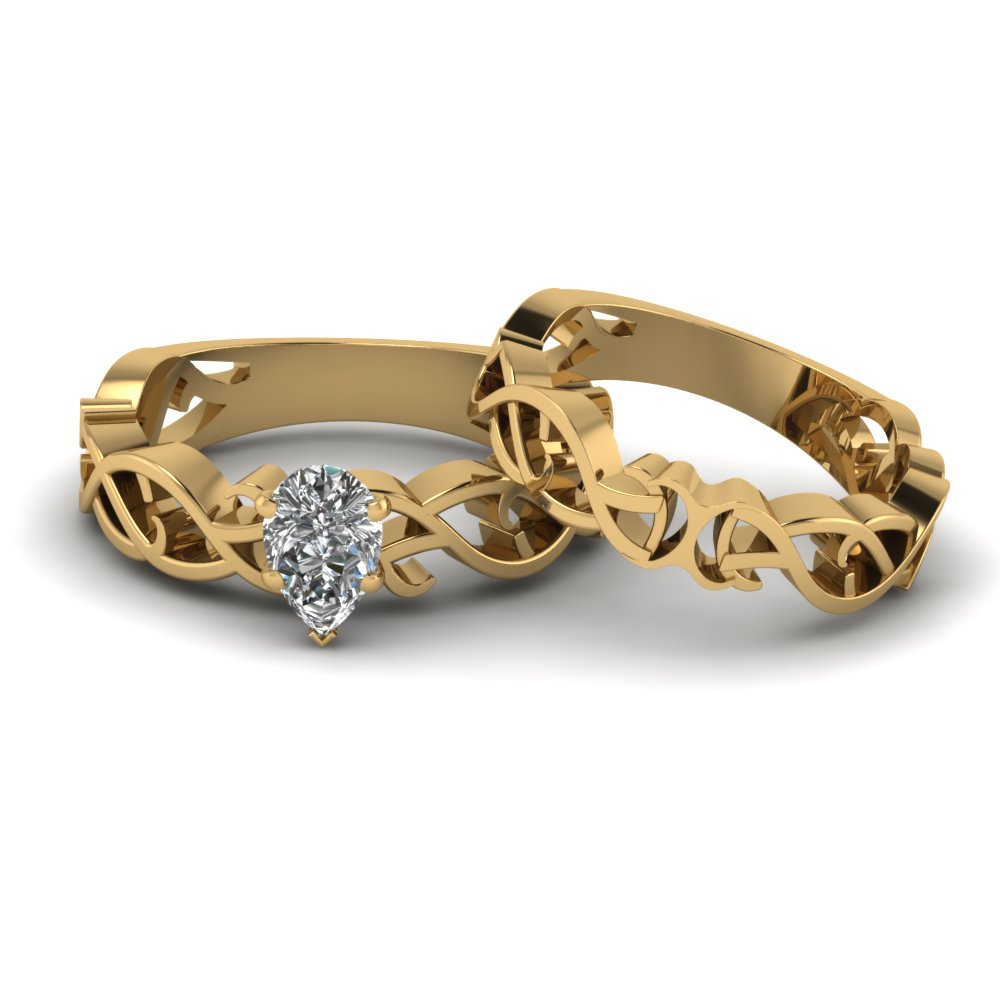 Pear Diamond Gold Wedding Set