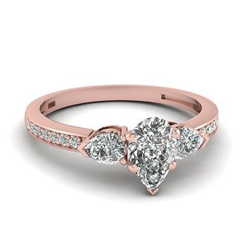 0.75 Ctw. Pear Shaped Diamond Engagement Rings