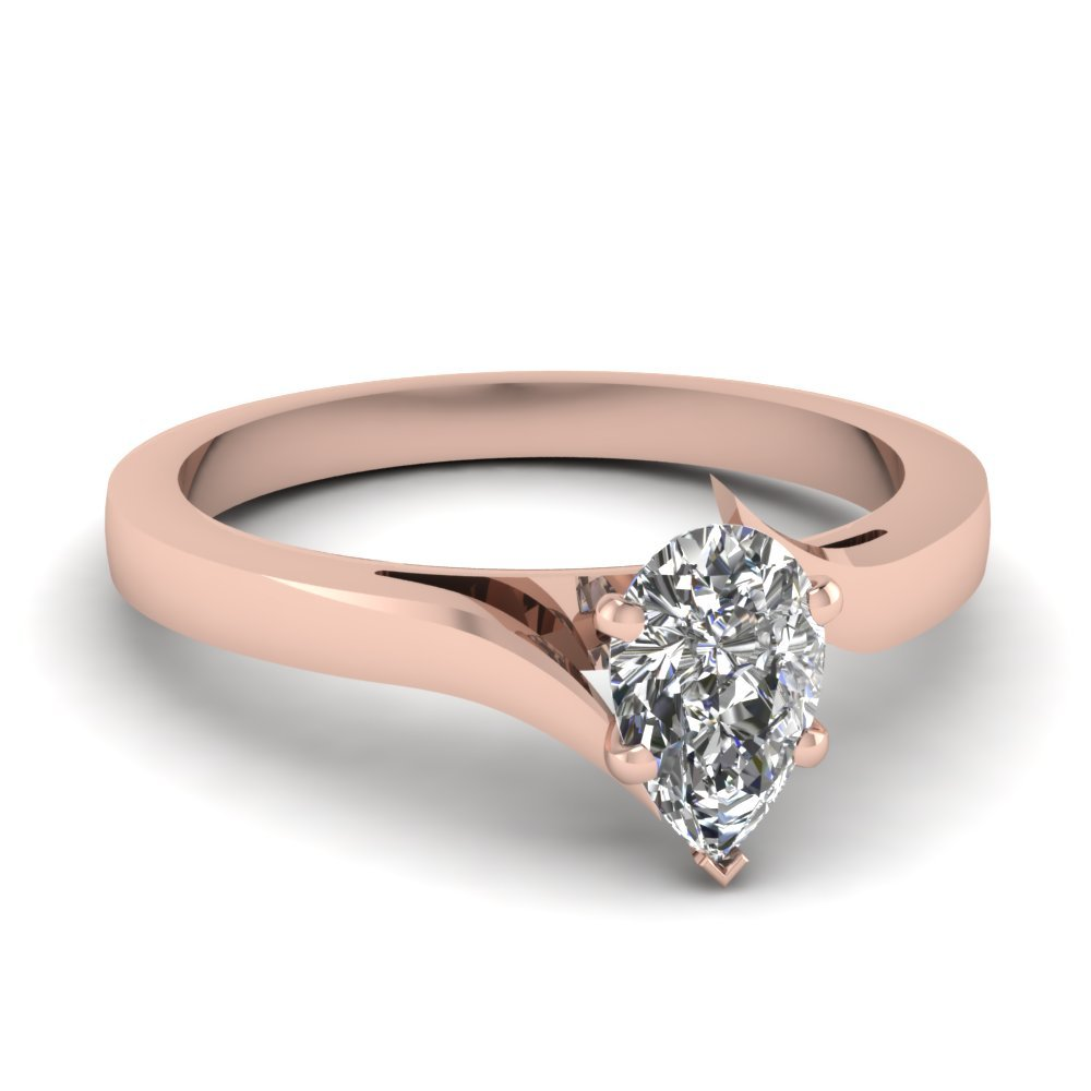 Twisted Pear Shaped Solitaire Engagement Ring In 14K Rose Gold