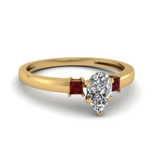 3 Stone Pear Shaped Engagement Ring With Ruby In 14K Yellow Gold