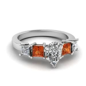Orange Sapphire Diamond Ring