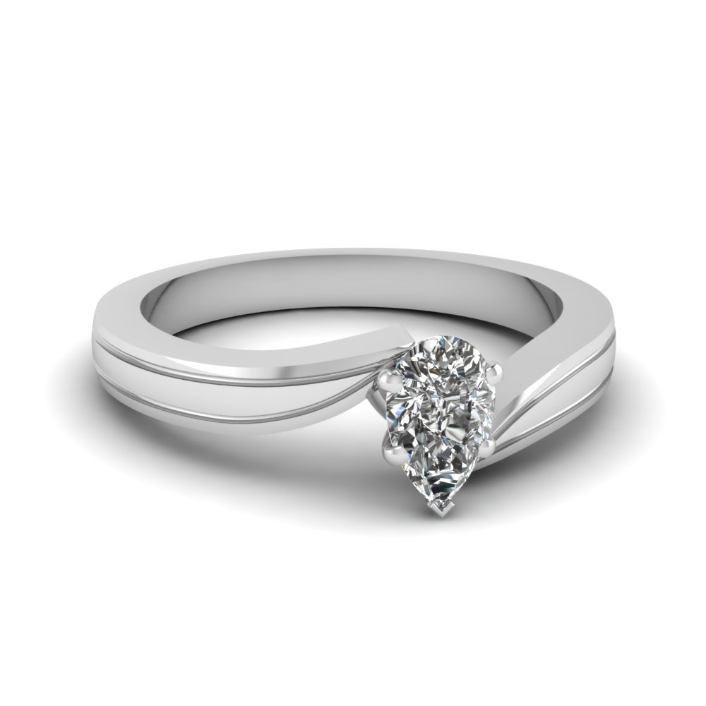 Pear Shaped Diamond Twisted Solitaire Engagement Ring In 18K White Gold