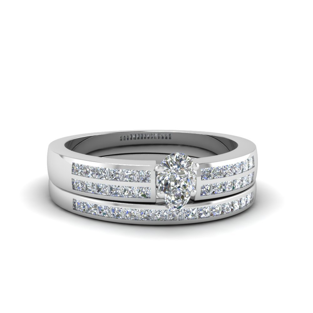 Pear Shaped Double Row Channel Diamond Wide Bridal Set In 18K White Gold