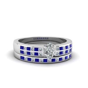 Pear Shaped Sapphire Bridal Set