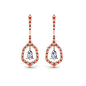 Pear Drop Orange Topaz Earring