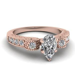 Engraved Antique Pave Pear Shaped Diamond Engagement Ring In 14K Rose Gold