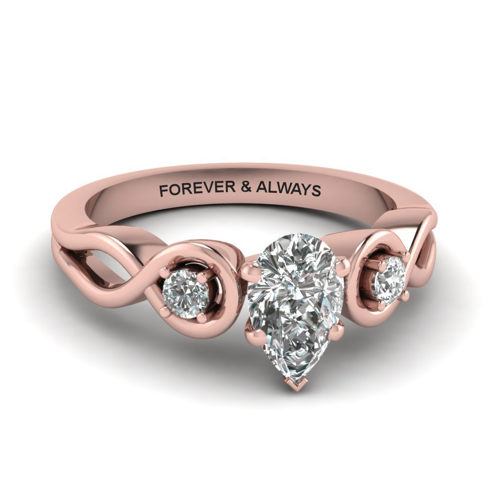 Pear Shaped Engraved Three Stone Diamond Engagement Ring In 14K Rose Gold