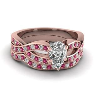 Pear Shaped Entwined Pave Diamond Bridal Set With Pink Sapphire In 18K Rose Gold