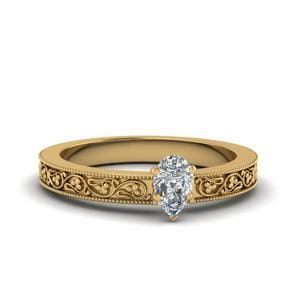 Milgrain Pear Shaped Solitaire Ring