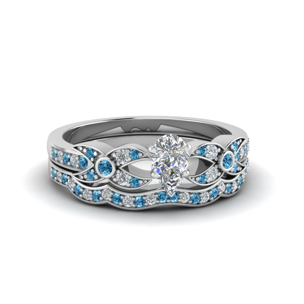 Flower Pave Blue Topaz Wedding Set