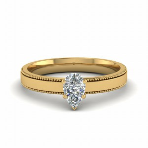 Gold Pear Diamond Ring