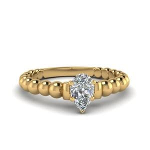 Pear Shaped Gold Bead Solitaire Engagement Ring With Black Diamond In 18K Yellow Gold