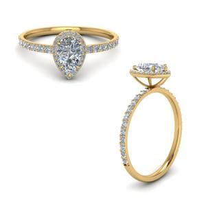 Pear Shaped Halo Diamond Engagement Ring In 14K Yellow Gold