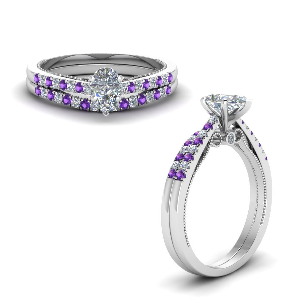 Purple Topaz High Set Wedding Set