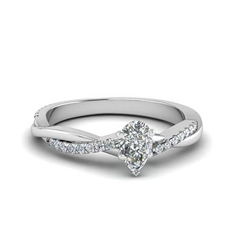 0.50 Ct. Pear Shaped Diamond Engagement Rings
