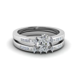 3 Stone Accented Wedding Ring Set