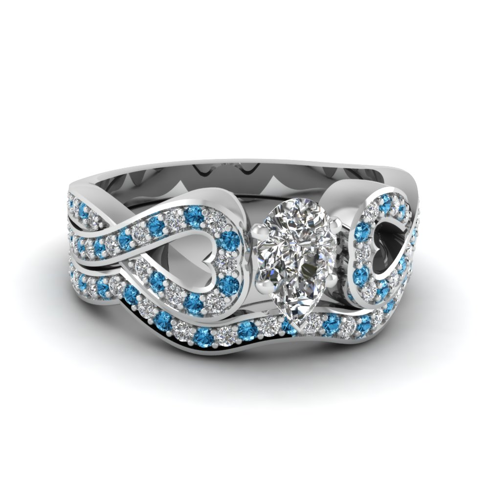 Entwined Pear Diamond Wedding Ring Set With Blue Topaz In 950 Platinum