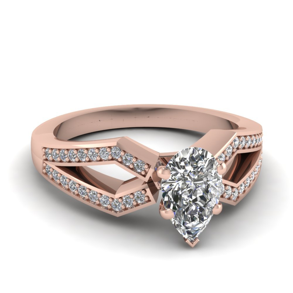 Pave Split Shank Pear Diamond Engagement Ring In 14K Rose Gold