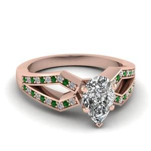 Rose Gold Emerald Split Ring