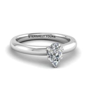 Platinum Single Pear Diamond Ring