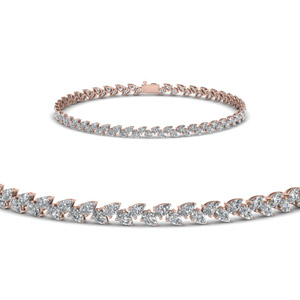 Pear Shaped Petal Style Diamond Bracelet In 14K Rose Gold