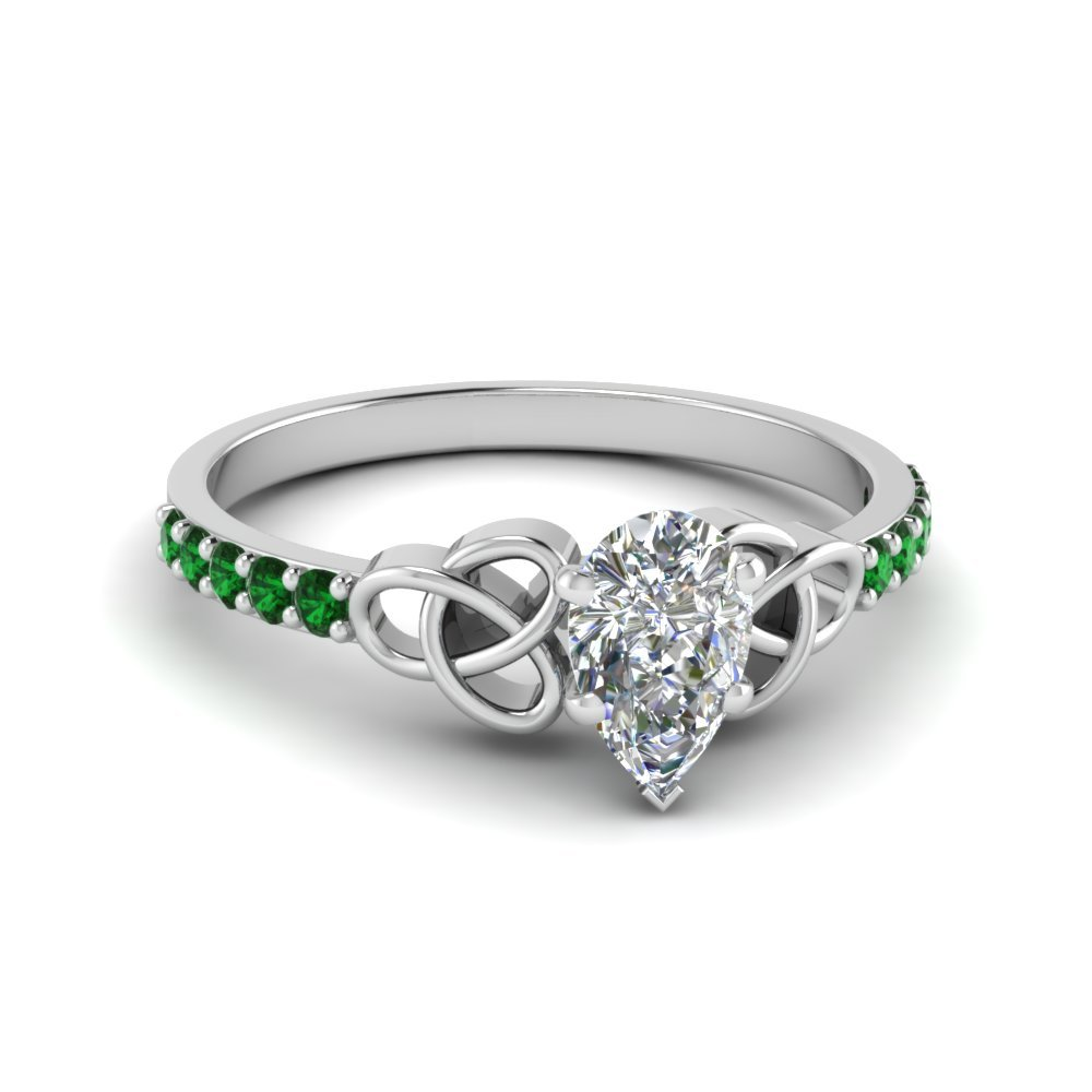 Emerald White Gold Petite Pave Ring