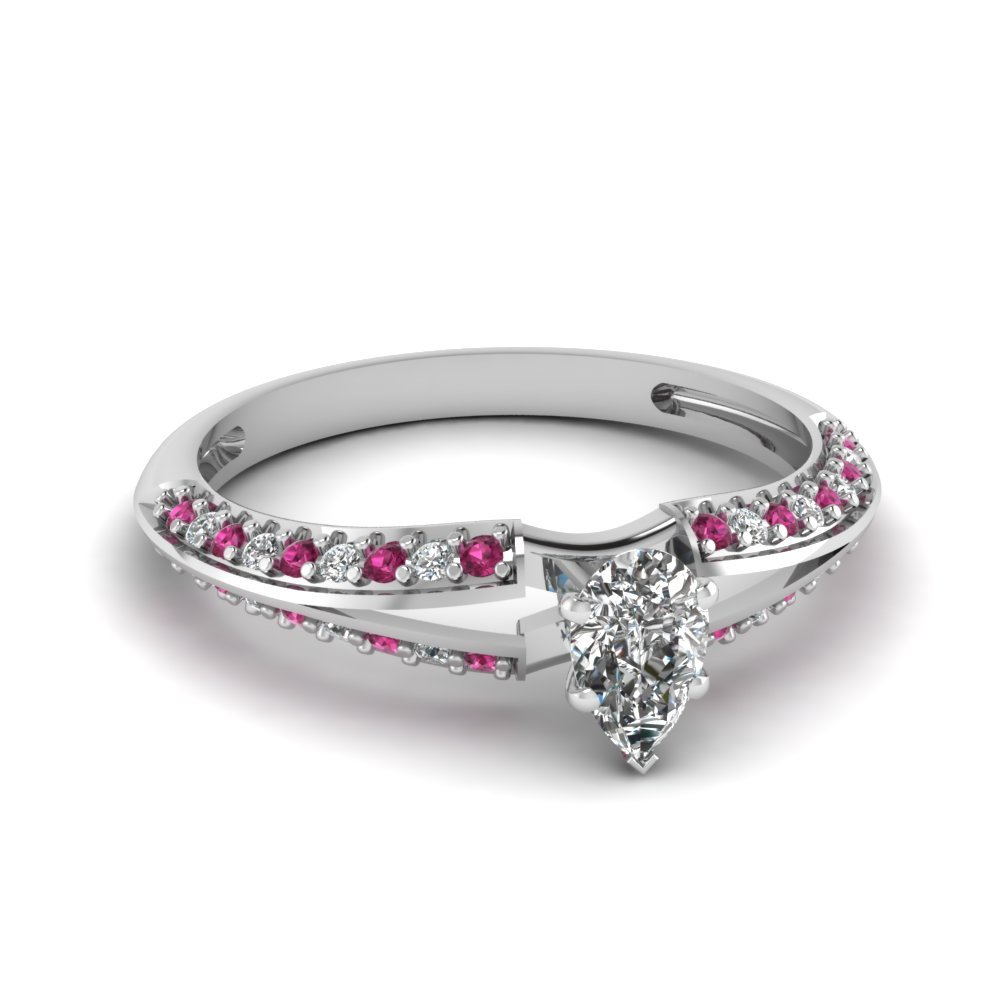 Pear Shaped Petite Split Shank Diamond Engagement Ring With Pink Sapphire In 950 Platinum