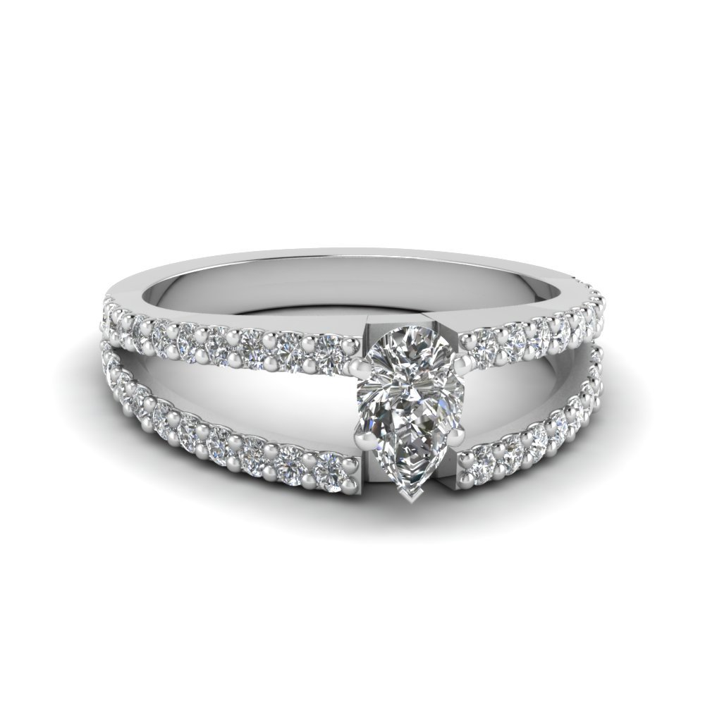 Pear Shaped Platinum Ring