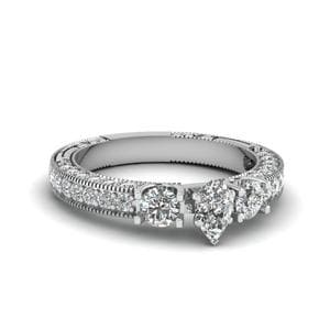 Pear Shaped Stone Accented U Prong Diamond Vintage Engagement Ring In 950 Platinum