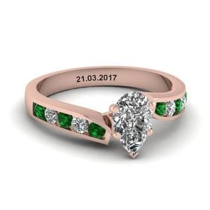 Unique Swirl Pear Diamond Engagement Ring With Emerald In 18K Rose Gold