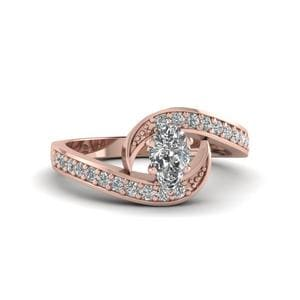 Pear Shaped Swirl Pave Diamond Engagement Ring In 14K Rose Gold