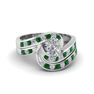 Channel Twist Emerald Wedding Set