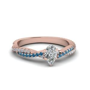 Rose Gold Blue Topaz Ring