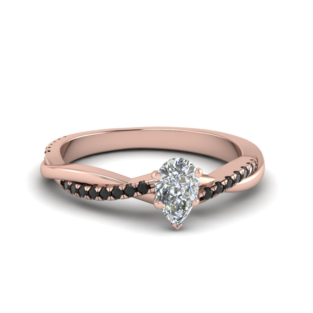 Pear Shaped Twisted Vine Ring With Black Diamond In 18K Rose Gold