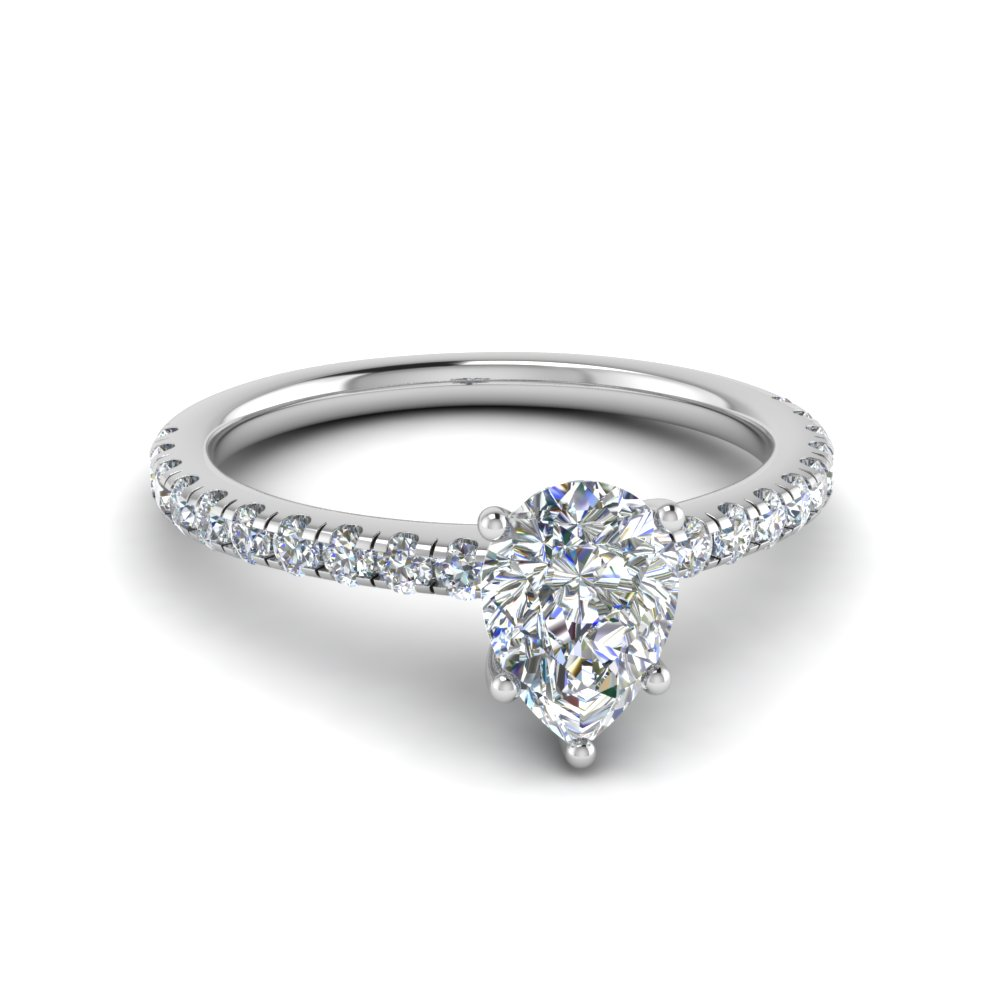 Pear Shaped U Prong Diamond Ring In 950 Platinum